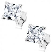 White 9K gold earrings - zircon square of clear hue, 5 mm