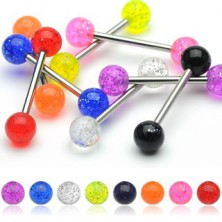 Neon tongue ring with glitters