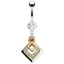 Navel ring - three squares