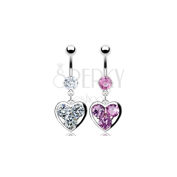 Zirconic heart belly button ring
