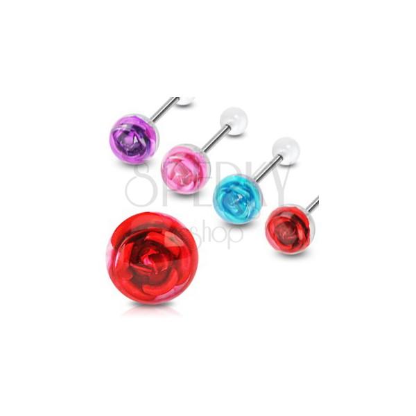 Rose tongue ring