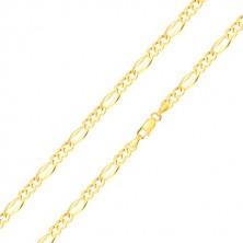 585 gold bracelet – elongated eyelet with widened edges, three oval eyelets, 210 mm