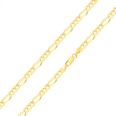 585 gold bracelet – three oval eyelets, elongated eyelet with widened edges, 180 mm
