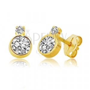 14K gold earrings – shiny ground zircon in a mount, smaller zircon in a mount