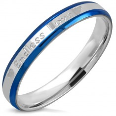 """Bicolour ring made of stainless steel - bevelled edges, inscription """"Endless Love"""", hearts, 3,5 mm"""