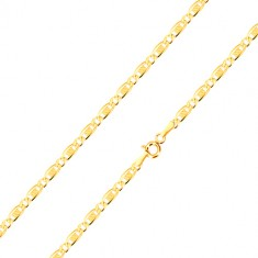 14K yellow gold bracelet - oval eyelet, elongated eyelet with grid, 190 mm