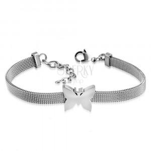 Silver steel bracelet, mesh design, shiny butterfly