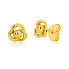 Yellow 375 gold earrings - flower with three petals and ball in the centre
