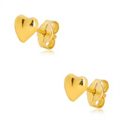 9K yellow gold earrings - glossy asymmetric heart, stud fastening