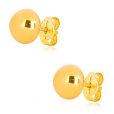 Yellow 375 gold earrings - simple semi-ball, glossy surface, 7 mm