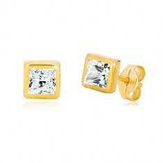 Yellow 9K gold earrings - square contour, cut square zircon of clear colour
