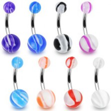 Ball belly ring - various colours combined with white