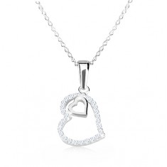 925 silver necklace - irregular heart contour with zircons, heart