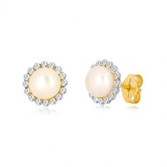 Yellow 9K gold earrings - glittery zircon flower with white pearl in the centre