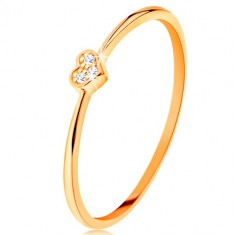 Ring made of yellow 9K gold - heart decorated with round clear zircons