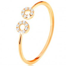 375 gold ring with narrow divided shoulders, small zircon hoops