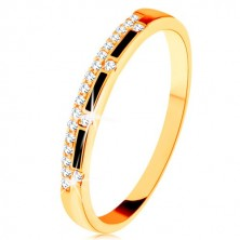 Ring made of yellow 9K gold - strips of black glaze, clear zircon line