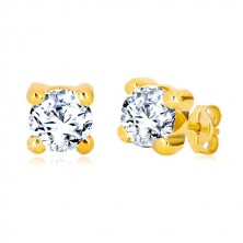 Yellow 375 gold earrings - glittery round zircon in square mount, 6 mm