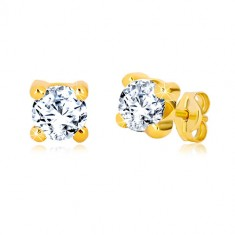 Yellow 9K gold earrings - glittery round zircon, square mount, 5 mm