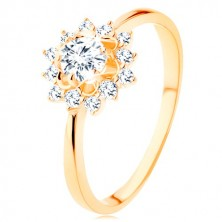 Ring made of yellow 9K gold - clear zircon sun, glossy narrow shoulders