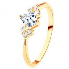 Glossy 375 gold ring - clear zircon square, clear zircons on the sides