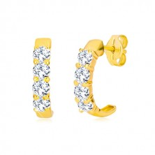 Yellow 9K gold studs - semi-circles with clear round zircons