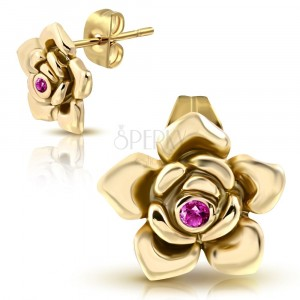 Steel earrings of glod colour - decoratively carved rose in bloom, zircon of pink colour