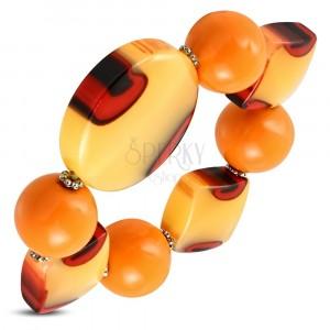 Elastic bracelet - orange balls, milk glass with orange touch, eyes