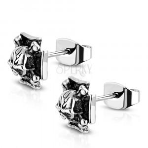 Steel earrings of silver colour - Maltese cross, skull with crossbones