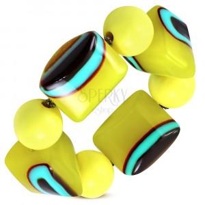 Elastic bracelet - yellow balls, beads made of milk glass, turquoise-brown eyes