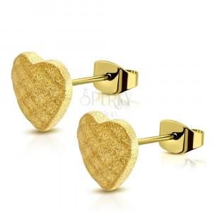 Steel earrings of gold colour - symmetric sand heart, grid, studs