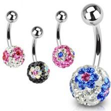 Belly button ring - Swarovski crystal ball