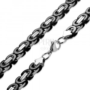 Stainless steel two-colour chain - byzant motif, 9 mm