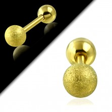 Stainless steel ear piercing - smooth and sanded ball of gold colour, 6 mm