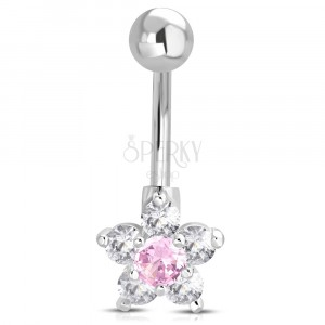 Steel belly piercing - ball, pink-clear zircon flower