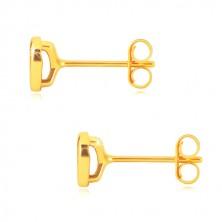 Yellow 14K gold earrings - glossy symmetric heart, studs