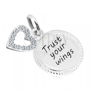 """925 silver pendant - circle with inscription """"Trust your wings"""", heart contour with zircons"""