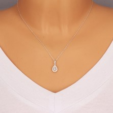 925 silver pendant - glittery drop with zircon contour