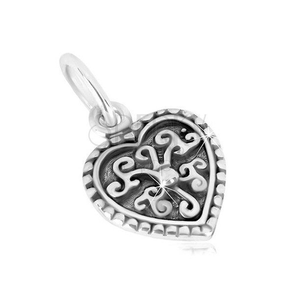 925 silver penant - symmetric heart, ornament flowr with ball, patina