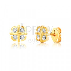 Yellow 9K gold earrings - flower with crossed lines and arches, zircons