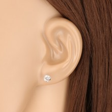 White 375 gold earrings - glittery transparent zircon, four prongs, 5 mm