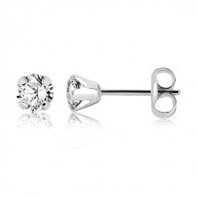 White 9K gold earrings - clear glittery zircon, four prongs, 4 mm
