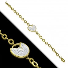 Steel bracelet in gold colour - decorative circle with a notch, clear glittery zircons