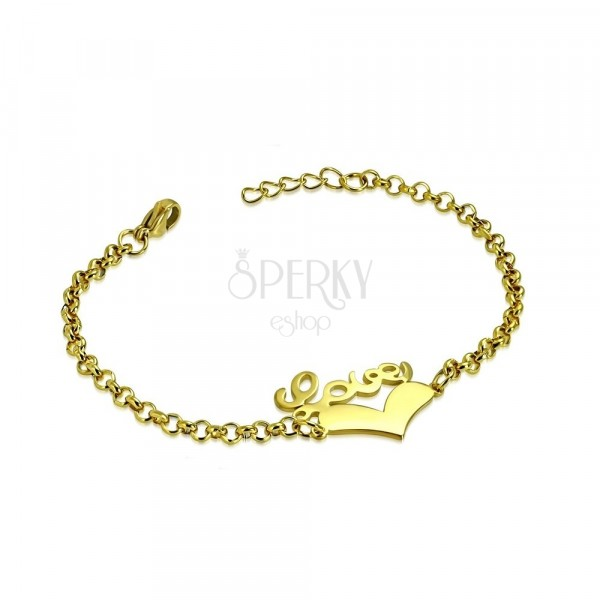 "Steel bracelet of gold colour - symmetric heart and inscription ""Love"", chain of round rings"