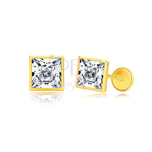 Yellow 585 gold earrings - zircon square in holder, screw back earrings, 6mm