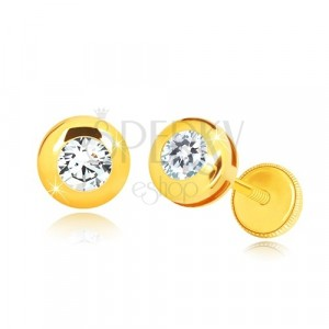 Yello 14K gold earrings - glossy circle with clear round zircon