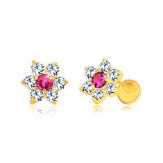 585 yellow gold earrings - zircon flower, ruby-coloured center, screw back earrings