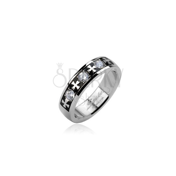 Steel ring - three zircons and crosess