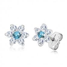 925 silver earrings - glittery zircon flower, clear-sky blue, studs