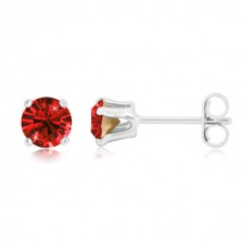 925 silver earrings - glittery zircon of deep red colour in mount, studs
